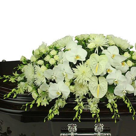 White Orchid Casket Flowers
