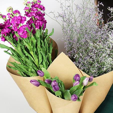 Purple flowers delivered