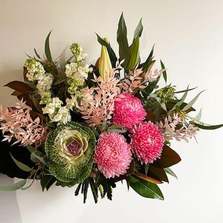 pink flower bouquet winter