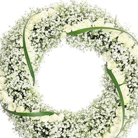 Delicate White Funeral Wreath Sydney Delivery