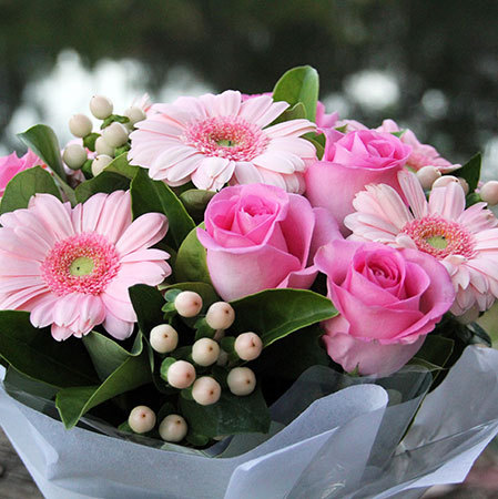 sugar pink boxed flowers