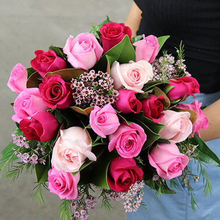Cherry Pink Rose Bouquet Delivered
