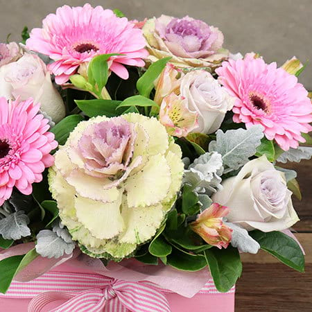 Lilac Pink B;loom Box Flower Delivery