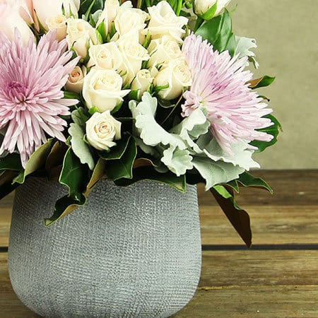 Pink and Mauve Flowers in Pot