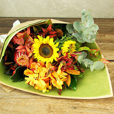 Winter Spice Flower Bouquet with Sunflowers