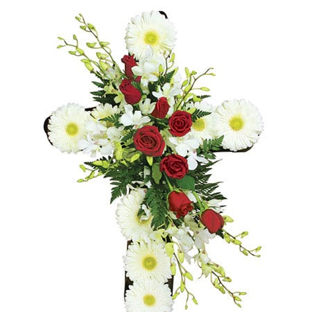 White and Red Funeral Cross Delivered Sydney
