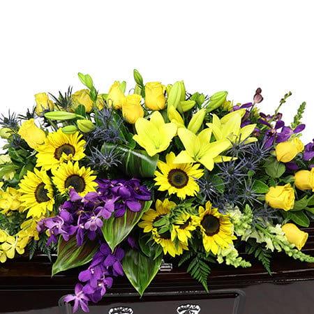 Vibrant Gold Casket Flowers