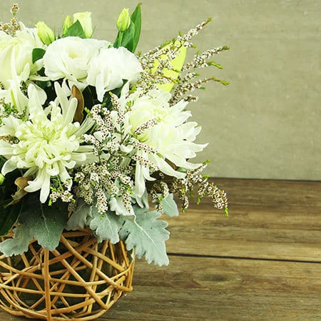 Creamy White Flower Basket Delivery