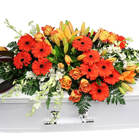 Orange Garden Casket Flowers