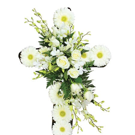 Heavenly White Funeral Cross Sydney