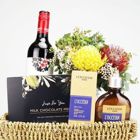 Mens Gift Basket with Wine