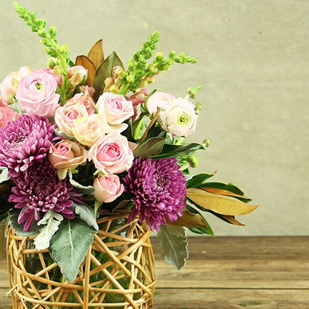 Pink Basket of Flowers Delivered