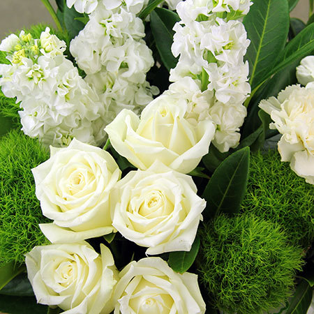 Pure white flower basket flowers for everyone white basket arrangement mightylinksfo