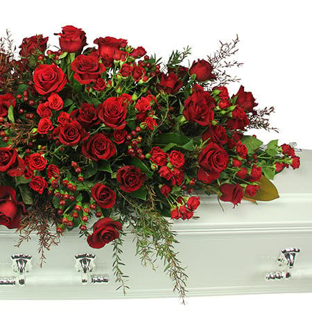 Red Berry and Rose Casket Flowers