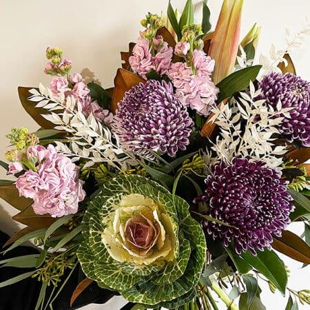 purple-kale-pink-lily-bouquet