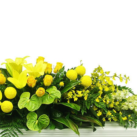 Tropical Yellow Funeral Flower Casket