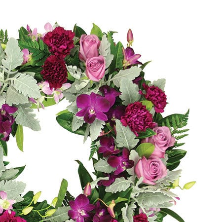 Purple and Silver Funeral Wreath Flowers Delivered Sydney