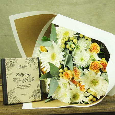 Apricot Delight Flowers and Chocolate Gift