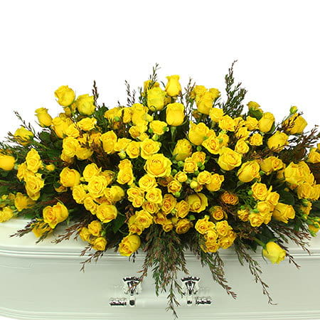 Stunning Yellow Roses for Funeral Casket
