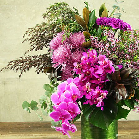 Theatrical Pink Flower Vase Delivery