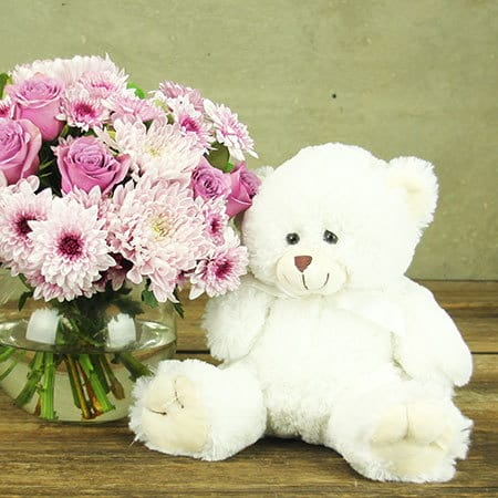 Lilac Vase and Teddy Bear