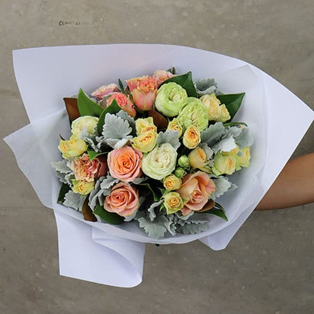 Gift Wrapped Antique Rose Posy