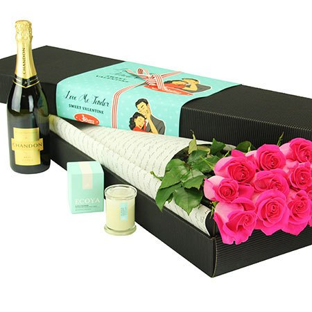 12 Long Stem Pink Roses and Bubbly (Sydney Only)
