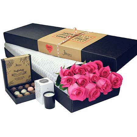 12 Long Stem Pink Roses and Chocolate (Sydney Only)