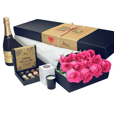 12 Long Stem Pink Roses with Chocolate and Bubbly (Sydney Melbourne Perth Only)