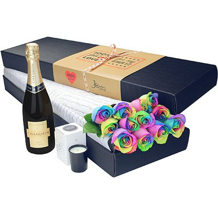12 Long Stem Rainbow Roses and Bubbly (Sydney Only)