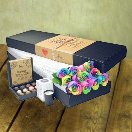 12 Long Stem Rainbow Roses and Chocolate (Sydney Only)