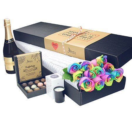 12 Long Stem Rainbow Roses with Chocolate and Bubbly (Sydney Melbourne Perth Only)