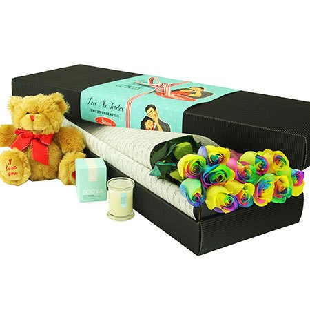 12 Long Stem Rainbow Roses with Love Bear (Sydney Only)