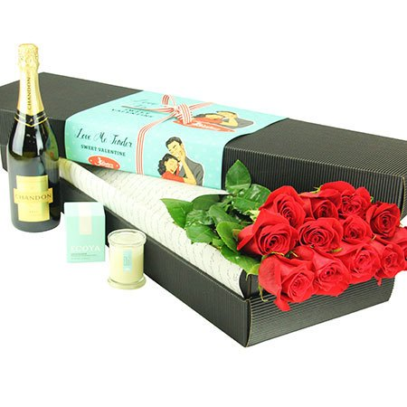 12 Long Stem Red Roses and Bubbly (Sydney Melbourne Perth Only)