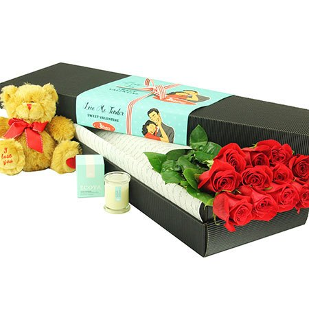 12 Long Stem Red Roses and Love Bear (Sydney Melbourne Perth Only)