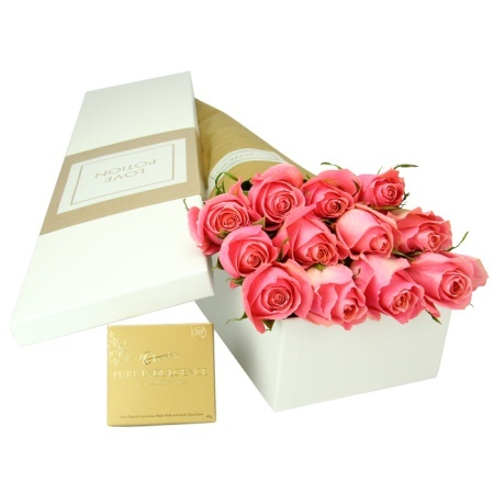 12 Pink Roses & Chocolates