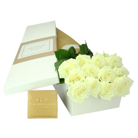 12 White Roses & Chocolates