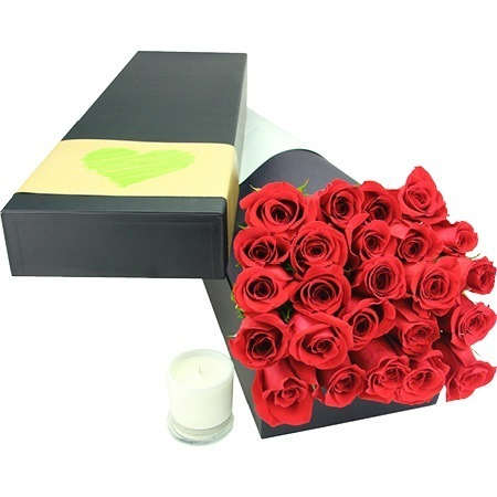 Gorgeous roses with scented candle