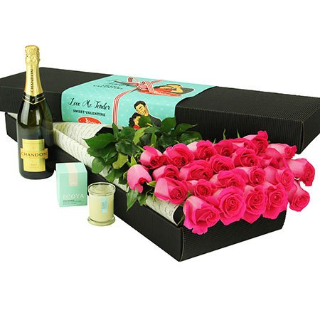 24 Long Stem Pink Roses and Bubbly (Sydney Only)