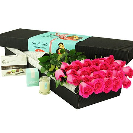 24 Long Stem Pink Roses and Chocolate (Sydney Only)