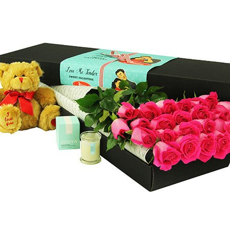 24 Long Stem Pink Roses and Love Bear (Sydney Only)