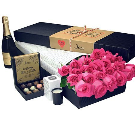 24 Long Stem Pink Roses with Chocolate and Bubbly (Sydney Melbourne Perth Only)
