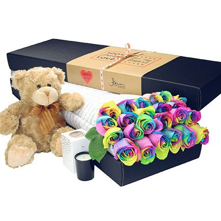 24 Long Stem Rainbow Roses and Love Bear (Sydney Only)