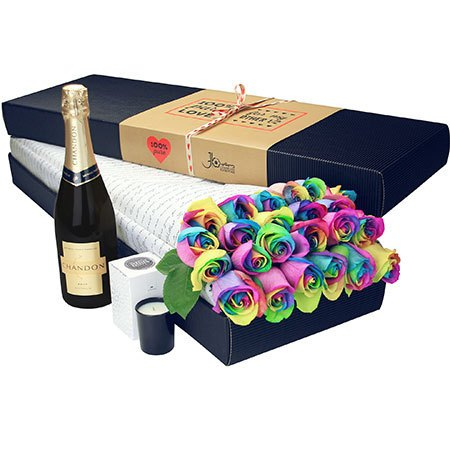 24 Long Stem Rainbow Roses and Bubbly (Sydney Only)