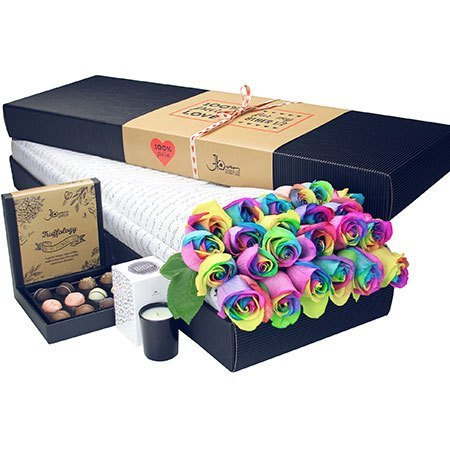 24 Long Stem Rainbow Roses and Chocolate (Sydney Only)