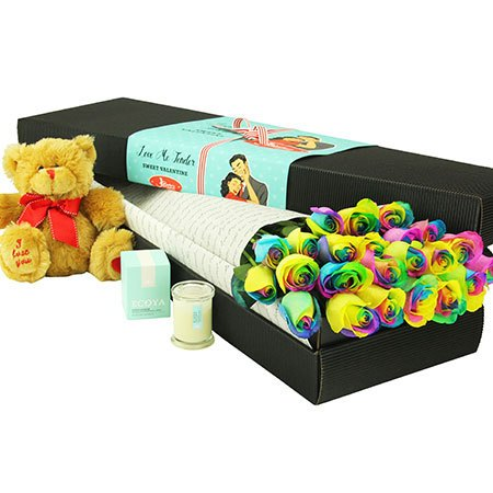 24 Long Stem Rainbow Roses and Love Bear (Sydney Only)