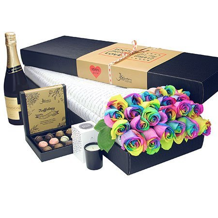 24 Long Stem Rainbow Roses with Chocolate and Bubbly (Sydney Melbourne Perth Only)