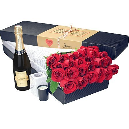 24 Long Stem Red Roses and Bubbly (Sydney Only)