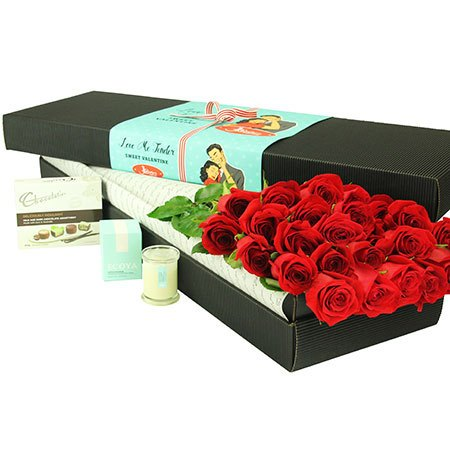 24 Long Stem Red Roses and Chocolate (Sydney Melbourne Perth Only)