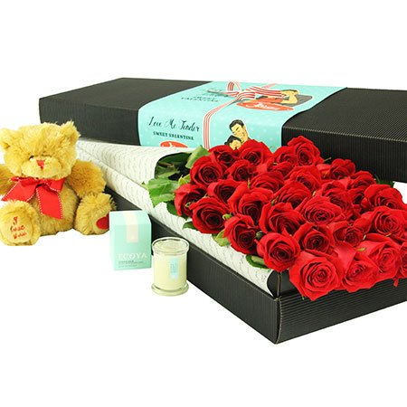 24 Long Stem Red Roses and Love Bear (Sydney Only)
